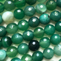 16 Inch Green Agate 10mm Facet Round Beads